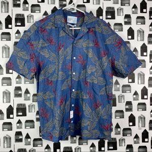 Zara | NWT Casual Button Down Tropical Leaf Shirt